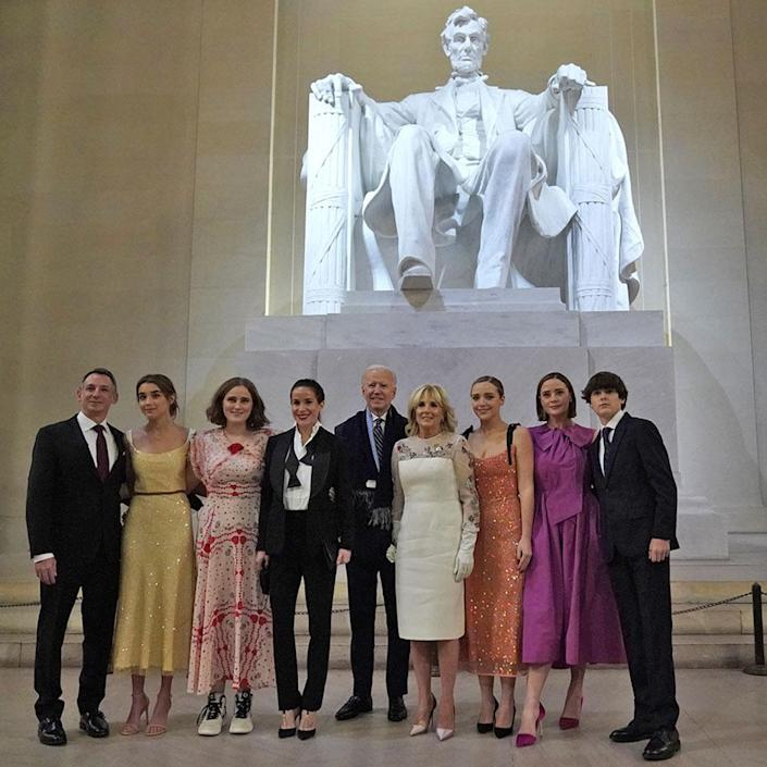 <p>The new First Family poses for a photo on the steps of the Lincoln Memorial. </p>