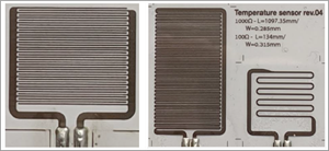Inkjet-printed humidity and temperature sensors using PV Nano Cell Sicrys™ I50TM-119 silver ink. Printed by TUC.