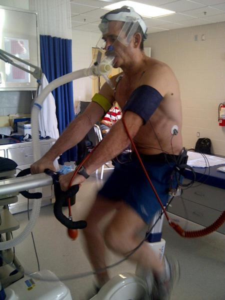 Astronaut Chris Hadfield performs cardiovascular testing a few days after his mission returned to Earth May 13, 2013.