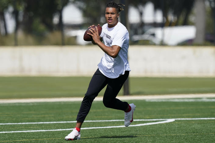 Texas A&M quarterback Kellen Mond gets ready to pass the ball during an NFL football mini combine organized by House of Athlete, Friday, March 5, 2021, in Fort Lauderdale, Fla. (AP Photo/Marta Lavandier)