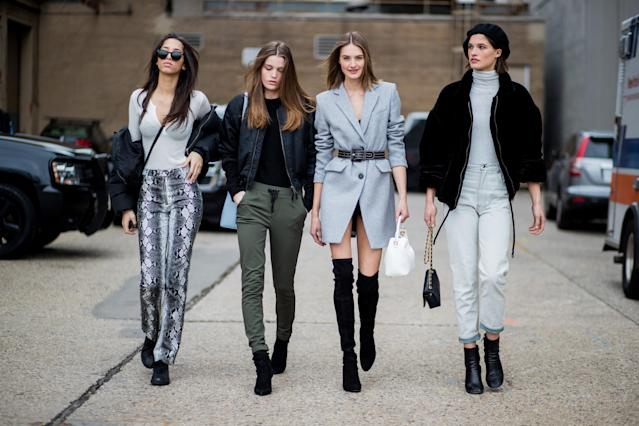 A street style photo taken during New York Fashion Week. Thinfluencers abound. (Photo: Getty Images)