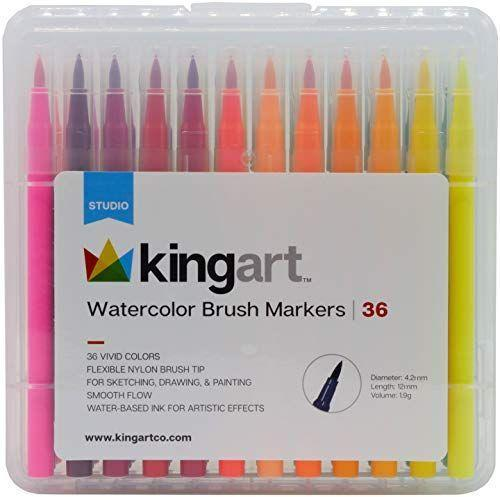 """<p><strong>KINGART</strong></p><p>amazon.com</p><p><strong>$15.10</strong></p><p><a href=""""https://www.amazon.com/dp/B07FCWJNMR?tag=syn-yahoo-20&ascsubtag=%5Bartid%7C10050.g.33523778%5Bsrc%7Cyahoo-us"""" rel=""""nofollow noopener"""" target=""""_blank"""" data-ylk=""""slk:SHOP NOW"""" class=""""link rapid-noclick-resp"""">SHOP NOW</a></p><p>Watercolor brush markers make coloring (and doodling) an all-around more relaxing endeavor. We love how this set comes with so many colors and a case to keep things organized. </p>"""
