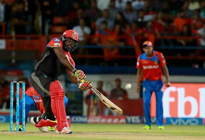 IPL-10: Gayle's fireworks take RCB to 213/2 against Gujarat Lions