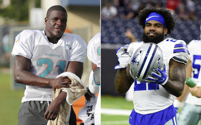 FILE - At left, in a July 30, 2018, file photo, Miami Dolphins running back Frank Gore towels off at the NFL football team's training camp, in Davie, Fla. At right, in an Aug. 30, 2018, file photo, Dallas Cowboys running back Ezekiel Elliott (21) warms up before a preseason NFL football game against the Houston Texans, in Houston. Ezekiel Elliott didn't play for the Dallas Cowboys in the preseason, and fellow running back Frank Gore barely did for Miami. Sitting stars in exhibitions raise the age-old balance of getting them ready for that first big hit while protecting important pieces for Super Bowl hopes. (AP Photo/File)
