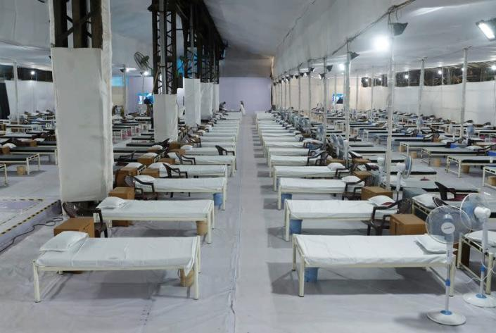 Beds are seen at a recently constructed quarantine facility for patients diagnosed with the coronavirus disease (COVID-19) in Mumbai