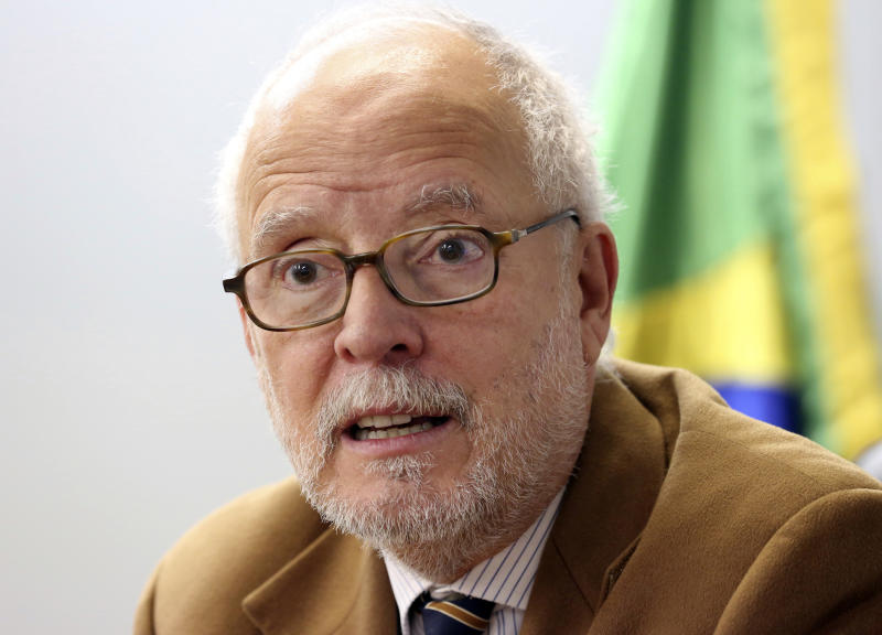 Consulate General of Brazil in Tokyo Joao de Mendonca Lima Neto speaks during an interview with the Associated Press in Tokyo, Wednesday, Dec. 5, 2018. Former Nissan chairman Carlos Ghosn, arrested in Japan on suspicion of underreporting his income, is holding up well while in detention and asked for thriller books, according to the Brazilian consul general, one of the few allowed to visit. (AP Photo/Koji Sasahara)