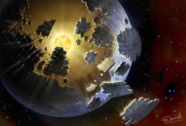 An artist's conception shows a crumbling megastructure known as a Dyson sphere orbiting a distant star. Could such structures produce detectable technosignatures? (Danielle Futselaar Illustration)