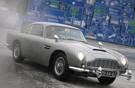 The Aston Martin DB5 made famous in the James Bond movies are displayed after restoration in Luzern