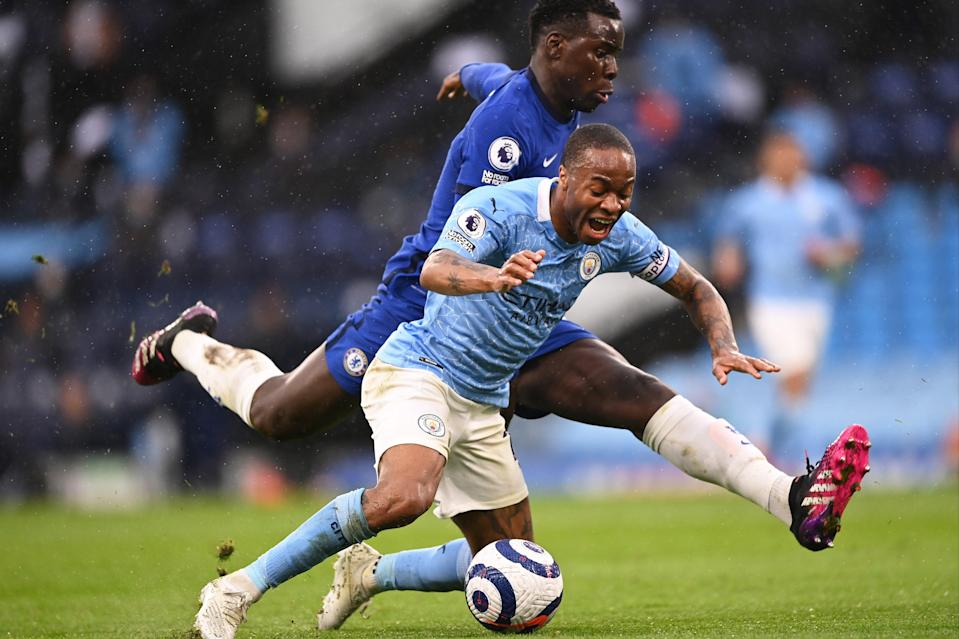 <p>Raheem Sterling went down under contact from Kury Zouma</p> (Getty Images)