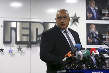 Former Bulgarian prime minister and  leader of centre-right GERB party Boiko Borisov arrives for a news conference at the party's headquarters in Sofia