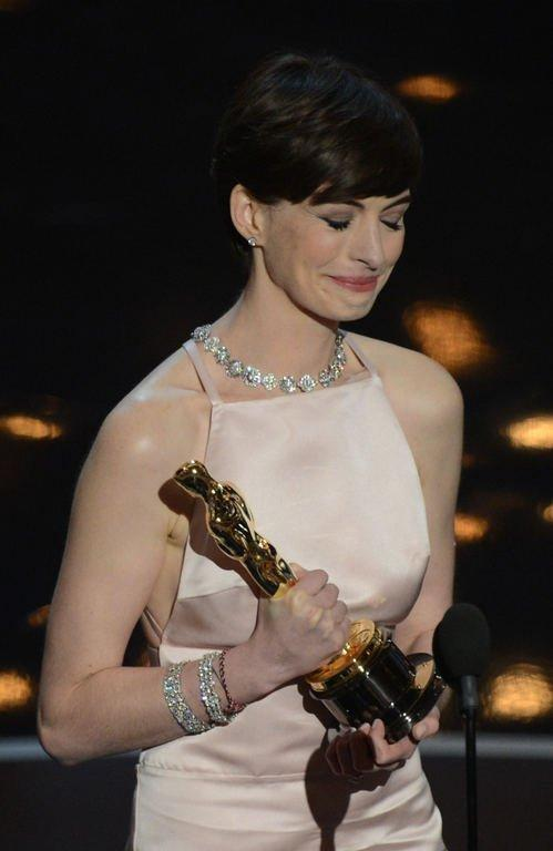Best Supporting Actress winner Anne Hathaway addresses at the 85th Annual Academy Awards on February 24, 2013 in Hollywood, California