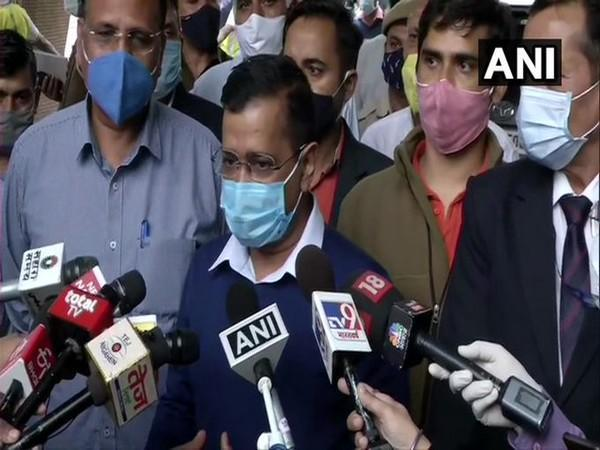 Delhi Chief Minister Arvind Kejriwal speaking to reporters on Wednesday.
