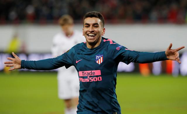 Soccer Football - Europa League Round of 16 Second Leg - Lokomotiv Moscow vs Atletico Madrid - RZD Arena, Moscow, Russia - March 15, 2018 Atletico Madrid's Angel Correa celebrates scoring their first goal REUTERS/Sergei Karpukhin