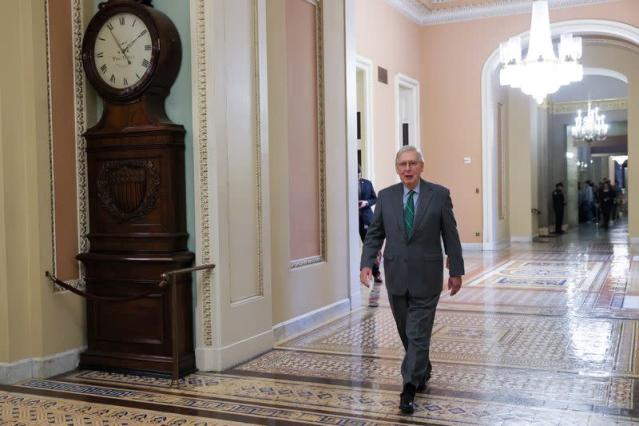 U.S. Senate Majority Leader McConnell walks to the floor for the final vote on the war powers resolution regarding potential military action against Iran, at the Capitol in Washington