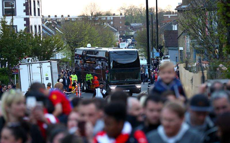 Arsenal bus  - Credit: Getty Images