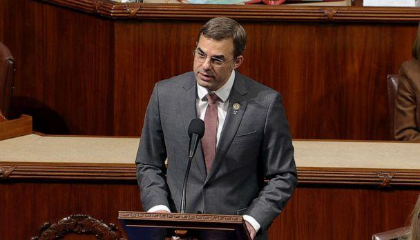 PHOTO: Independent Rep. Justin Amash speaks on the floor of the U.S. House of Representatives prior to a vote on two articles of impeachment against President Donald Trump in Washington, Dec. 18, 2019. (House Television)