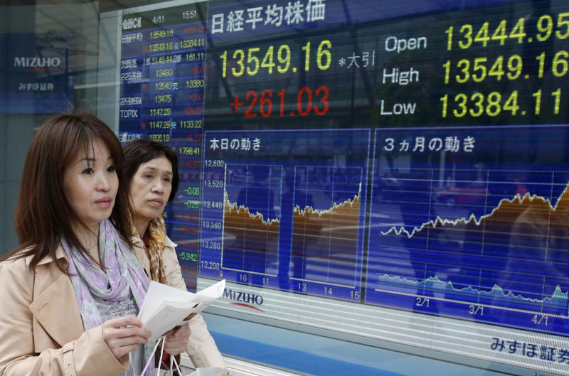 Women walk past an electronic stock indicator in Tokyo, Thursday, April 11, 2013. Asian stock markets powered higher Thursday after a U.S. communications company posted a surprise jump in earnings that led to big gains in technology stocks and new highs on Wall Street. Japan's Nikkei 225 jumped 1.2 percent to 13,549.16. (AP Photo/Shizuo Kambayashi)