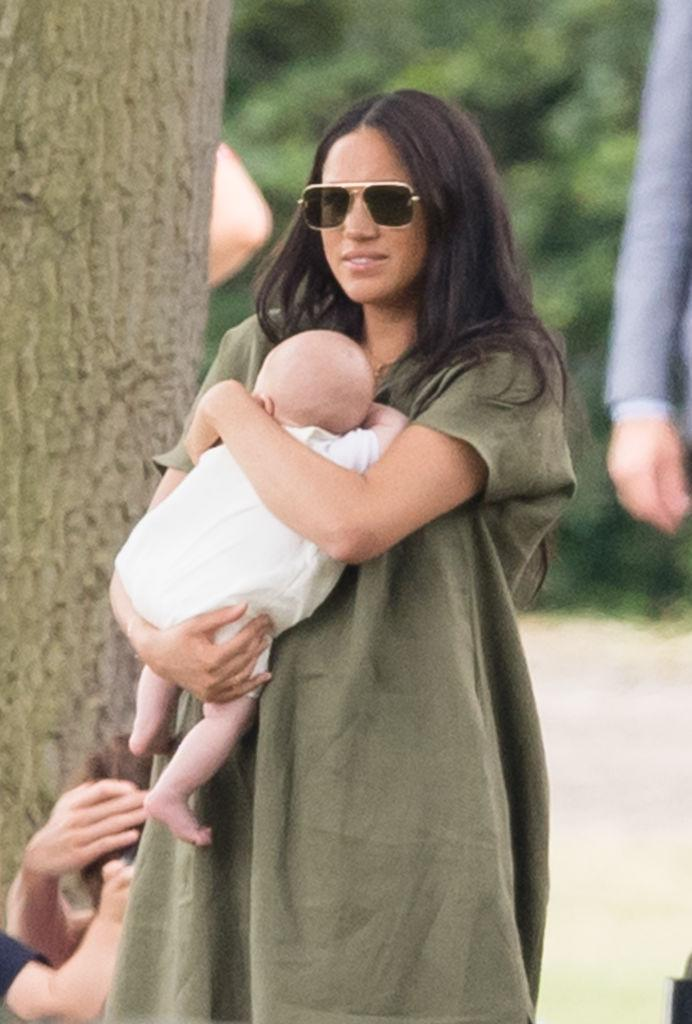 WOKINGHAM, ENGLAND - JULY 10: Meghan, Duchess of Sussex and Archie Harrison Mountbatten-Windsor at the King Power Royal Charity Polo Day at Billingbear Polo Club. [Photo: Getty]