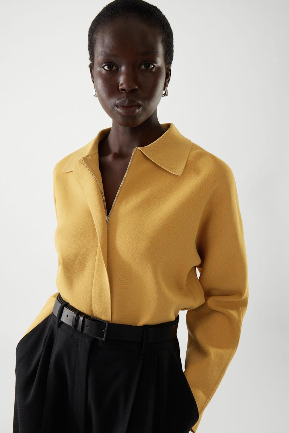 <p>We love the elegantly dramatic silhouette of this <span>COS Cropped Classic Bomber Jacket</span> ($150).</p>