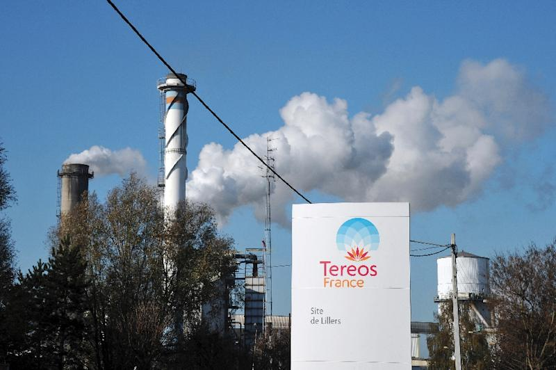 The entrance of French firm Tereos' sugar refinery in the French northern town of Lillers is seen in 2011