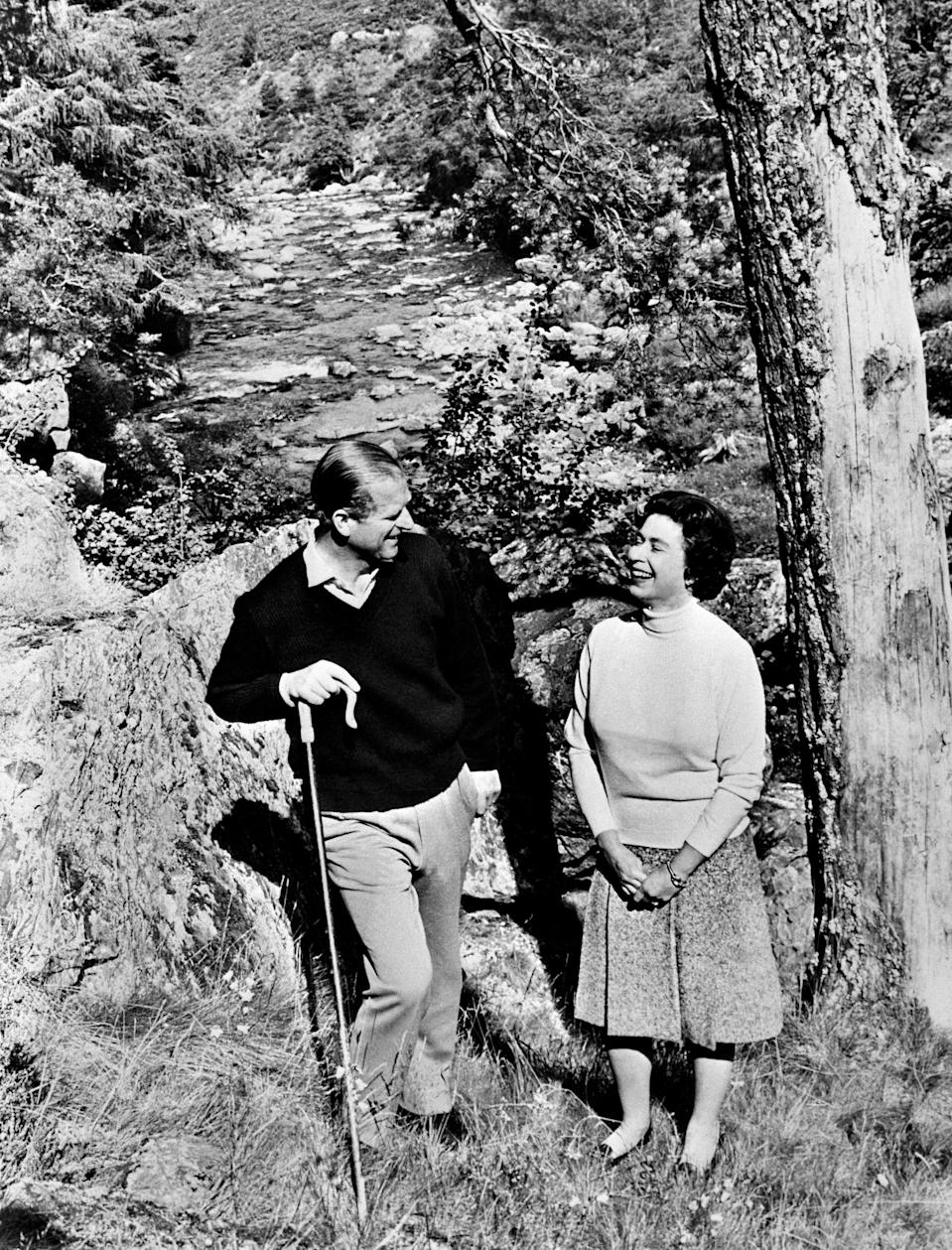 Queen Elizabeth II and Prince Philip, Duke of Edinburgh, pose at Balmoral Castle, near the village of Crathie in Aberdeenshire, 1972CENTRAL PRESS/AFP via Getty Imag