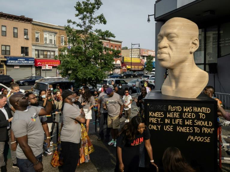 A bust of George Floyd, the Black man killed by a police officer in Minneapolis, was unveiled on June 19, 2021 in Brooklyn, New York