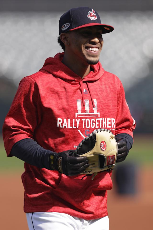 Cleveland Indians' Francisco Lindor smiles during a baseball workout, Wednesday, Oct. 3, 2018, in Cleveland. The Indians play the Houston Astros in Game 1 of the American League division series on Friday in Houston. (AP Photo/Tony Dejak)