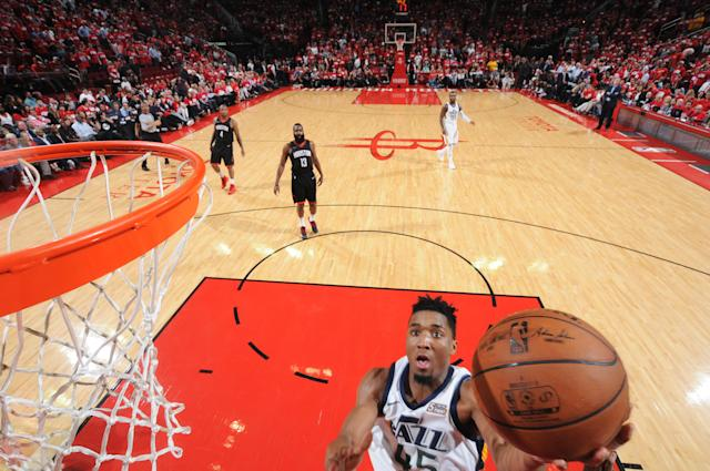 Donovan Mitchell and the Jazz hit the gas late and left James Harden and the Rockets wondering what hit them in Game 2. (Getty)