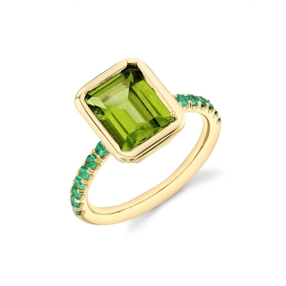 "$2800, Sarah Hendler. <a href=""https://www.sarahhendler.com/collections/statement-rings/products/pave-shirley-bezel-set-emerald-cut-ring"" rel=""nofollow noopener"" target=""_blank"" data-ylk=""slk:Get it now!"" class=""link rapid-noclick-resp"">Get it now!</a>"