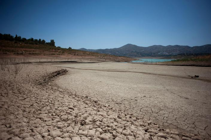 Picture: (Drought effects in the Vinuela reservoir, in La Vinuela, on August 9, 2017. (AFP/Getty Images))