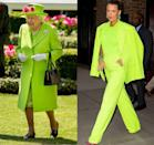 """<p>The Queen is known for her classic style, which often includes <a href=""""https://www.townandcountrymag.com/style/fashion-trends/a21931287/queen-elizabeth-fashion-bright-colors/"""" rel=""""nofollow noopener"""" target=""""_blank"""" data-ylk=""""slk:bright monochrome looks"""" class=""""link rapid-noclick-resp"""">bright monochrome looks</a>, but the neon green coat she wore to a garden party in 2018 was one of her boldest outfits to date. Clearly, Blake Lively got the memo, as she stepped out in New York City a few months later dressed in a head-turning neon green suit. </p>"""