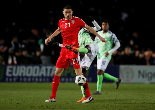 Soccer Football - International Friendly - Nigeria vs Serbia - The Hive Stadium, London, Britain - March 27, 2018 Nigeria's Wilfred Ndidi in action with Serbia's Nemanja Matic Action Images via Reuters/Peter Cziborra