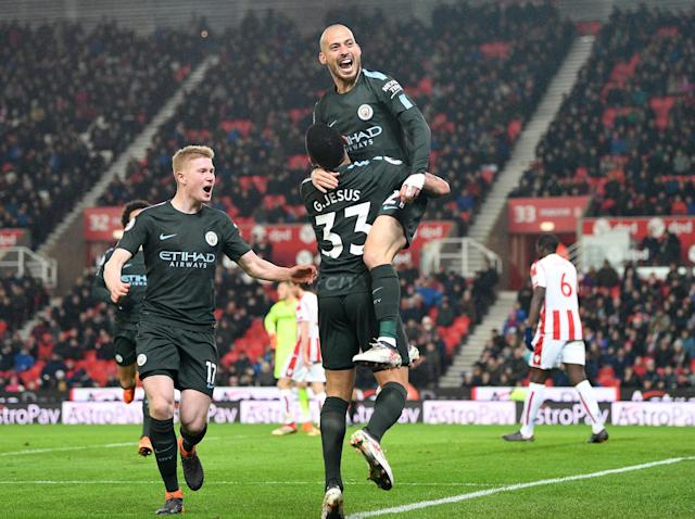 David Silva sinks struggling Stoke as Manchester City close in on Premier League title