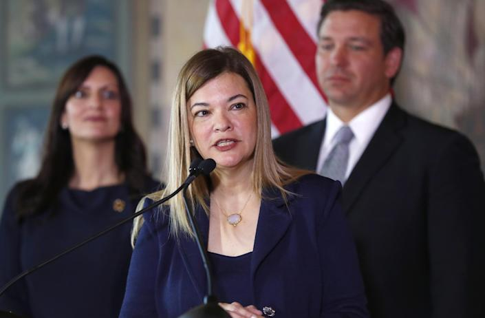Then-Florida Supreme Court Justice Barbara Lagoa pictured along with by Florida Gov. Ron DeSantis, a Trump ally.