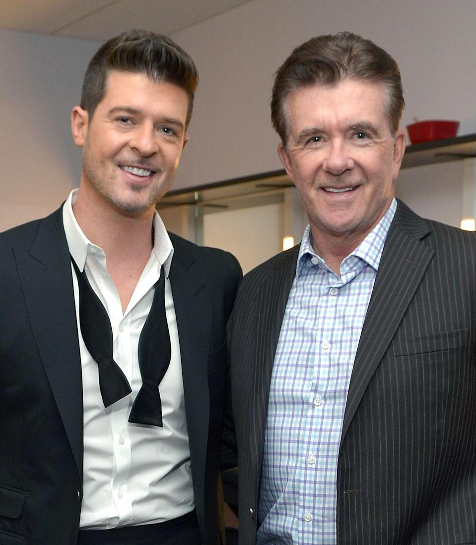 """<p><strong>Famous parent(s)</strong>: actor Alan Thicke<br><strong>What it was like</strong>: """"He was the best man I ever knew,"""" Robin <a href=""""http://www.usmagazine.com/celebrity-news/news/robin-thicke-remembers-father-alan-thicke-after-his-sudden-death-w455818"""" rel=""""nofollow noopener"""" target=""""_blank"""" data-ylk=""""slk:said"""" class=""""link rapid-noclick-resp"""">said</a> after his dad's passing. """"The best friend I ever had. Let's all rejoice and celebrate the joy he brought to every room he was in.""""</p>"""
