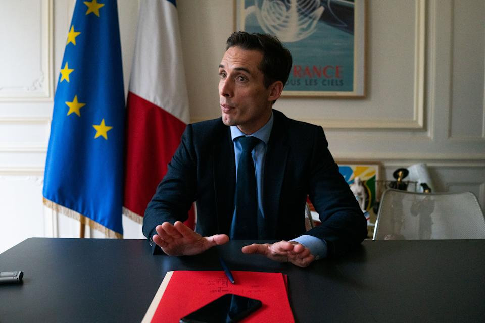 Jean-Baptiste Djebbari, France's transport minister, speaks during an interview at the transport ministry in Paris, France, on Tuesday, Oct. 27, 2020. Photo: Benjamin Girette/Bloomberg