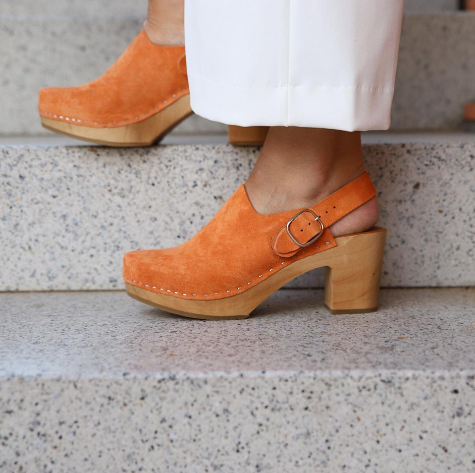 "<h3><h2>Kulikstyle Leather Clogs</h2></h3><br>The oversize buckle on these pumpkin-orange nubuck clogs from Polish brand Kulik make for an unexpected take on a time-tested standard. <br><br><strong>Kulikstyle</strong> Leather Clogs, $, available at <a href=""https://go.skimresources.com/?id=30283X879131&url=https%3A%2F%2Fwww.etsy.com%2Flisting%2F713100640%2Fleather-clogs-by-kulikstyle-swedish"" rel=""nofollow noopener"" target=""_blank"" data-ylk=""slk:Etsy"" class=""link rapid-noclick-resp"">Etsy</a>"