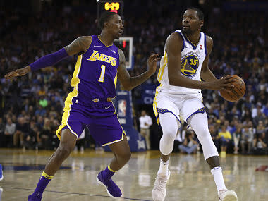 NBA Finals MVP Durant also contributed five rebounds and six assists as a Warriors side missing Stephen Curry, Klay Thompson and Draymond Green beat Lakers.