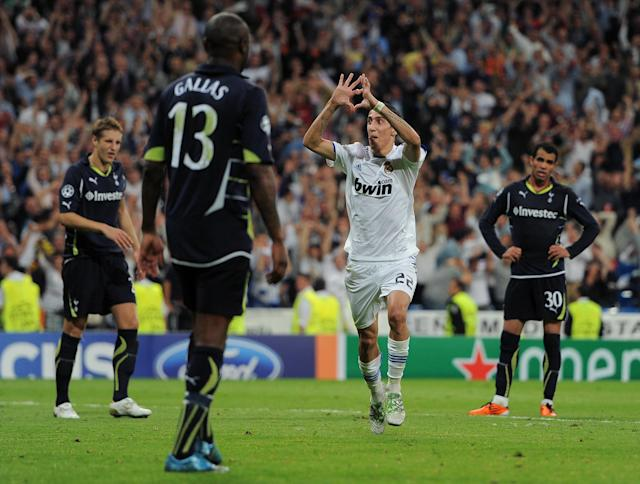 Angel di Maria was in the goals the last time Spurs played at Real Madrid as the home side won 4-0