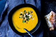 "For this butternut squash soup recipe, you need to toss the squash occasionally while it's roasting so it doesn't burn or stick, and to encourage as much caramelization as possible. <a href=""https://www.bonappetit.com/recipe/curried-butternut-squash-soup?mbid=synd_yahoo_rss"" rel=""nofollow noopener"" target=""_blank"" data-ylk=""slk:See recipe."" class=""link rapid-noclick-resp"">See recipe.</a>"