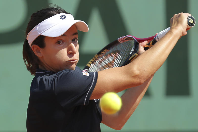 Alberta Brianti of Italy returns in her first round match against Victoria Azarenka of Belarus at the French Open tennis tournament in Roland Garros stadium in Paris, Monday May 28, 2012. (AP Photo/David Vincent)
