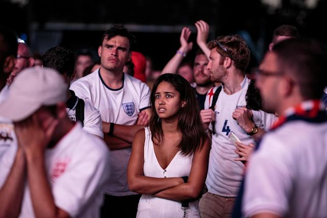 <p>England football fans react after their defeat as they watch the Hyde Park screening of the FIFA 2018 World Cup semi-final match between Croatia and England on July 11, 2018 in London, United Kingdom.The winner of this evening's match will go on to play France in Sunday's World Cup final in Moscow. Up to 30,000 free tickets were available by ballot for the biggest London screening of a football match since 1996. (Photo by Jack Taylor/Getty Images) </p>