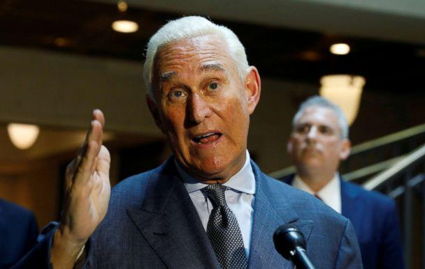PHOTO: U.S. political consultant Roger Stone, a longtime ally of President Donald Trump, speaks to reporters after appearing before a closed House Intelligence Committee hearing at the U.S. Capitol in Washington, Sept. 26, 2017. (Kevin Lamarque/Reuters, FILE)