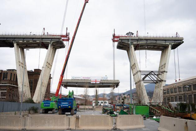 GENOA, ITALY - FEBRUARY 09: The first section of the remains of the Morandi Bridge is being taken down on February 9, 2019 in Genoa. Demolition of the Morandi Bridge begins at Ponte Morandi on February 09, 2019 in Genoa, Italy. The bridge suffered a partial collapse on August 14, 2018. (Photo by Stefania M. D'Alessandro/Getty Images) (Photo: Stefania M. D'Alessandro via Getty Images)