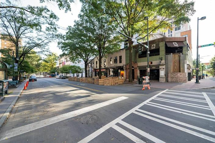 Tryon Street between Fifth and Sixth streets in uptown hosted on-street dining to aid struggling businesses.