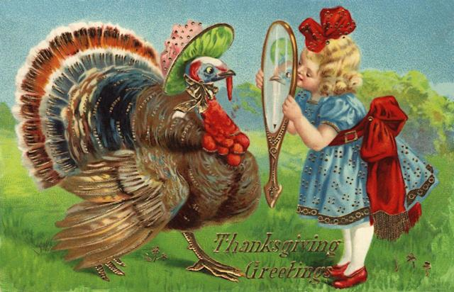 ca. 1910 — Thanksgiving Greetings Postcard with a Girl and Turkey — Image by © Cynthia Hart Designer/Corbis