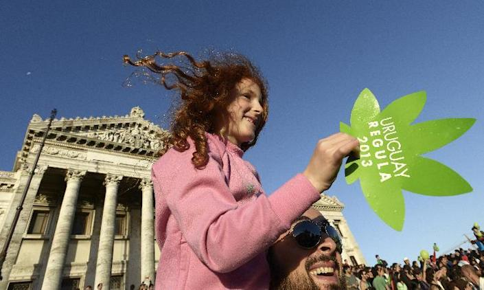 File- In this Dec. 10, 2013 file photo, legalization of marijuana activists gather outside the Congress building, as senators vote on a law to legalize the drug, in Montevideo, Uruguay. The activist are in support of the Washington and Colorado recreational laws that were passed 2012 to regulate the growth and sale of taxed pot at state-licensed stores. Sales began Jan. 1, 2014 in Colorado, and are due to start later this year in Washington. Twenty states and the District of Columbia also have medical marijuana laws. The. Uruguay's Senate gave final congressional approval Tuesday, Dec. 10, 2013 to create the world's first national marketplace for legal marijuana, an audacious experiment that will have the government oversee production, sales and consumption of a drug illegal almost everywhere else. (AP Photo/Matilde Campodonico, File)