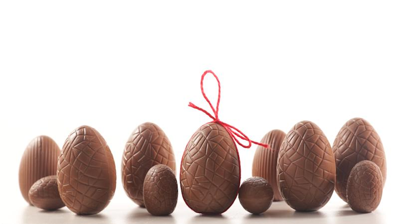 chocolate easter egg isolated on white background