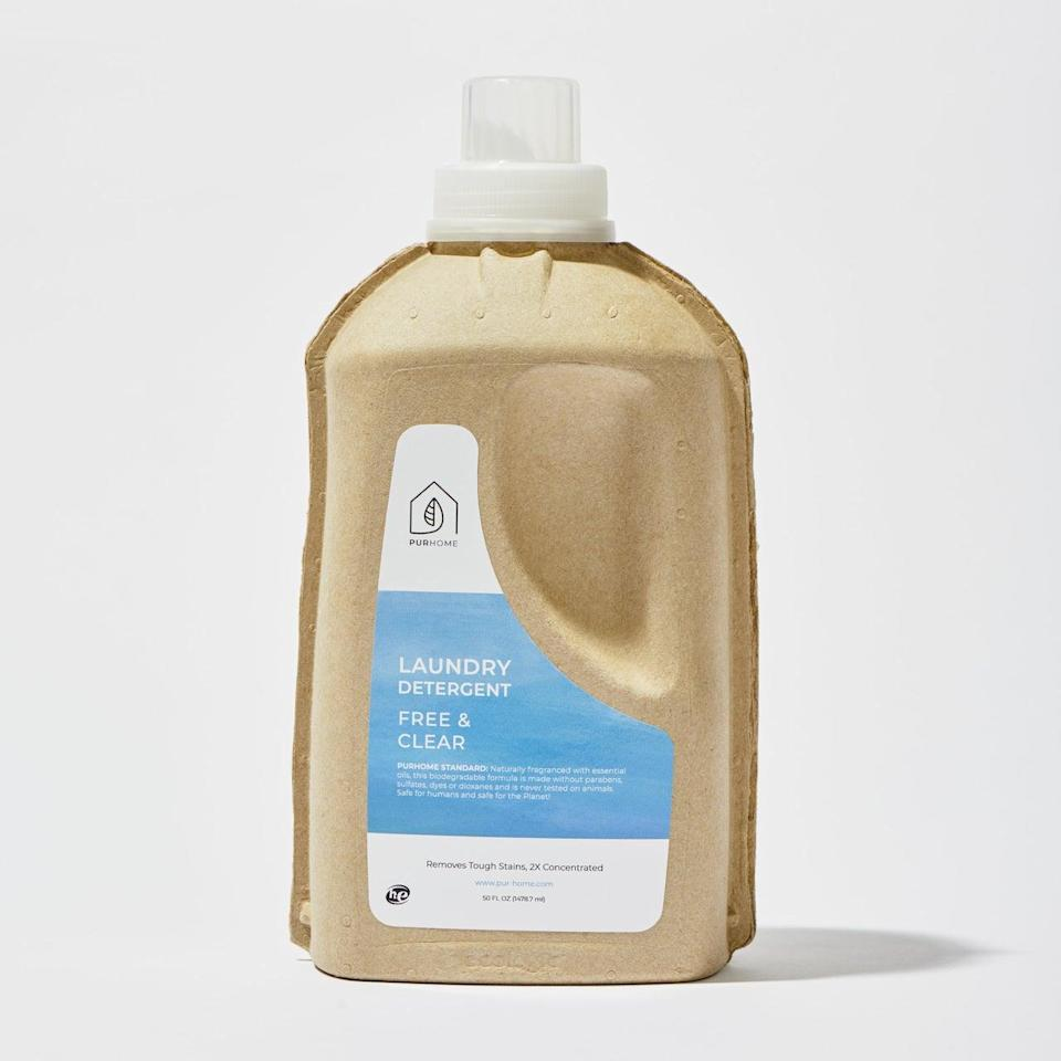 """<h3>PUR Home Liquid Laundry Detergent</h3> <br>The same way you wash your face after it's been trapped behind a <a href=""""https://www.refinery29.com/en-us/2020/07/9896818/face-mask-in-summer-heat"""" rel=""""nofollow noopener"""" target=""""_blank"""" data-ylk=""""slk:sweaty piece of cloth"""" class=""""link rapid-noclick-resp"""">sweaty piece of cloth</a>, you want to give the offending mask the same treatment. """"Wash your mask daily to avoid a buildup of bacteria on the cloth,"""" says dermatologist <a href=""""http://www.uptowndermatologyhouston.com/"""" rel=""""nofollow noopener"""" target=""""_blank"""" data-ylk=""""slk:Elizabeth Mullans"""" class=""""link rapid-noclick-resp"""">Elizabeth Mullans</a>, MD, who adds that the detergent or soap you use is important. """"Since a mask rests on your face, harsh chemicals and fragrances in your detergent can cause a skin reaction. I recommend using a hypoallergenic and fragrance-free option, and you can also add a <a href=""""https://www.refinery29.com/en-us/bathroom-cleaning-hacks"""" rel=""""nofollow noopener"""" target=""""_blank"""" data-ylk=""""slk:splash of white vinegar"""" class=""""link rapid-noclick-resp"""">splash of white vinegar</a>, which is a natural antibacterial, antiviral, and antifungal agent.""""<br><br><strong>PUR Home</strong> 50 oz Liquid Laundry Detergent, $, available at <a href=""""https://go.skimresources.com/?id=30283X879131&url=https%3A%2F%2Fpur-home.com%2F50-oz-liquid-laundry-detergent%2F"""" rel=""""nofollow noopener"""" target=""""_blank"""" data-ylk=""""slk:PUR Home"""" class=""""link rapid-noclick-resp"""">PUR Home</a><br>"""