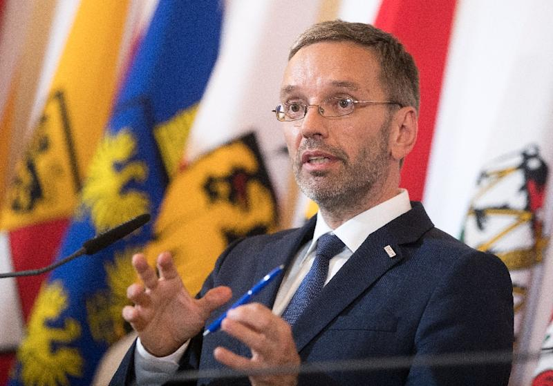 Austria's hardline Interior Minister Herbert Kickl told journalists he would propose asylum requests be made in refugee camps outside Europe (AFP Photo/GEORG HOCHMUTH)